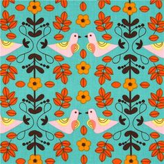turquoise Robert Kaufman fabric with bird flower leaf