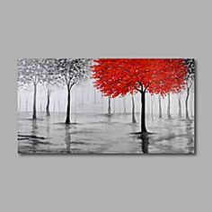 Peint à la main Abstrait A fleurs/Botanique Paysages AbstraitsModerne Un Panneau Toile Peinture à l'huile Hang-peint For Décoration