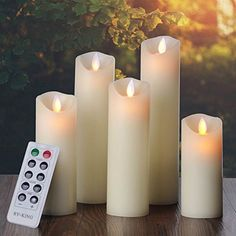 "Vinkor Flameless Candles- Flickering Flameless Candles Set- Decorative Flameless Candles: 4"" 5"" 6"" 7"" 8"" Classic Real Wax Pillar With Moving LED Flame & 10-key Remote Control - 2/4/6/ 8 Hours Timer"