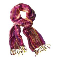 Multicolored Fiesta Scarf ($27) ❤ liked on Polyvore featuring accessories, scarves, colorful scarves, fringed shawls, multi colored scarves, colorful shawl and fringe scarves