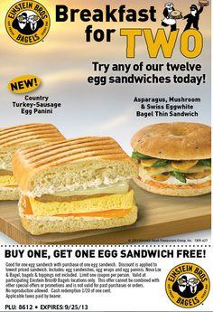 EINSTEIN BROS. BAGELS $$ Reminder: Coupon for BOGO FREE Egg Sandwich – Expires TODAY (9/25)!