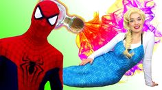 Frozen Elsa Becomes a Mermaid - Spiderman Pink Spidergirl Anna -Joker Su...