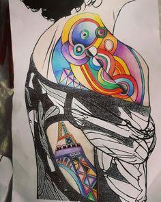Œuvre de Robert Delaunay  (façon tatouage avec mes couleurs)