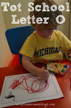 Tot School Printables Letter O is for Ostrich from Wildflower Ramblings Preschool Literacy, Preschool Letters, Preschool At Home, Learning Letters, Preschool Ideas, Letter O Activities, Educational Activities, Fun Activities, Tot Trays