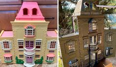 Mom Starts Upcycling Thrifted Plastic Dollhouses Into Spooky Mansions, And She's Absolutely Nailing It Haunted Dollhouse, Haunted Dolls, Wooden Dollhouse, Diy Dollhouse, Haunted Houses, Casa Halloween, Halloween Looks, Halloween Stuff, Halloween Ideas