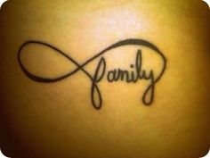 "Family Forever Tattoo. Infinity sign tattoos. - I just mentioned on another infinity pin that if I got it,it would say familia and here it is ""family"" I like !"