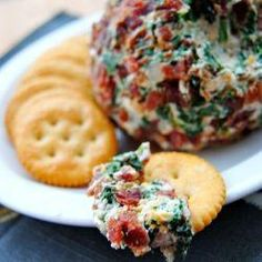 Bacon Spinach Cheese Ball...love cheese balls for the holidays and this sounds almost healthy...LOL!