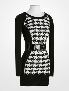 dab6cc4d Derek Heart Houndstooth Knit Dress #black #white #blackandwhite #geometric  #belted #sweater #tunic #longsleeve #womens #juniors #fall #winter #fashion