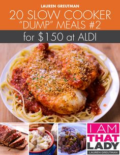 Aldi Dump Meal Plan Slow Cooker Comfort Food Edition I wouldn't use all the recipes but I think the majority of them Slow Cooker Freezer Meals, Crock Pot Slow Cooker, Slow Cooker Recipes, Crock Pot Dump Meals, Crockpot Cheap Meals, Cheap Meals For 2, Crock Pots, Slow Cooking, Freezer Cooking