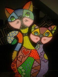 Risultati immagini per gatos en puntillismo Arte Country, Pintura Country, Cat Template, Cat Applique, Art Drawings For Kids, Cat Quilt, Cat Colors, Stencil Painting, Cat Pattern