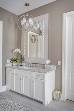 Custom Home: Memmer Homes Interior Design, Home Furnishings & Accessories, Lighting: Laura of Pembroke Photography: Andy Webb Taupe Bathroom, White Master Bathroom, Small Bathroom, White Bathroom Cabinets, Modern Farmhouse, Brick Fireplace Makeover, Bathroom Interior Design, Bathroom Inspiration, Decoration