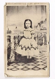 Latest CDV Cute Little Girl Wonerful Civil War Off Shoulder Dress Rough Edges | eBay