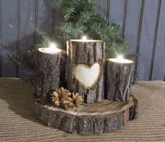 Personalized Log Candle Holder - Rustic Decor - Primitive Decor - Rustic Valentines Day Gift - Personalized Valentines Gift #bestofEtsy #rusticdecor