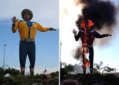 Big Tex, State Fair of Texas Icon, Goes Up in Flames #bbq