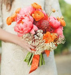 orange and pink peony wedding bouquest