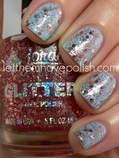 Cinderella+pink glitter polish. I don't have the Jordanna, but I have a Sally Hansen Xtreme Wear that's similar(Strobe Light)...