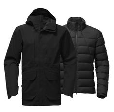 Ready to mix and match according to the weather conditions, this 3-in-1 jacket pairs a weatherproof Gore-Tex® outer shell with an zip-in liner jacket that's insulated with 800-fill goose down.