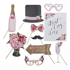 Designed for fun these photo booth props have a floral theme. Great for jazzing up your wedding photos and fun for your guests to use. Carry on this floral theme with the same design paper plates, cups and napkins that are available in this range.