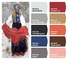 Traditional Norwegian Clothing Inspiration for exterior home color palette and landscaping. Chip It! by Sherwin-Williams – Home Red Colour Palette, Paint Color Palettes, Nordic Design, Nordic Style, Norwegian House, Norwegian Christmas, Color Schemes Design, Hygge Christmas, Black Peach