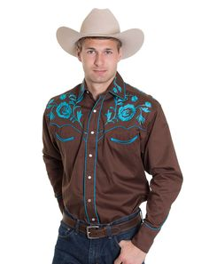 Rockmount Men's Long Sleeve Solid Snap Shirt With Floral Embroidery - Brown/Turquoise
