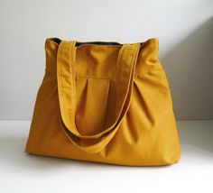 Sale  Mustard Canvas Bag  purse tote shoulder bag by tippythai, $31.00