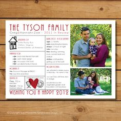 Modern Family Christmas Photo Card and Letter - Family Update.