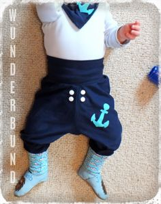 WUNDERBUND: Baby Pumphose selbst genäht LOVEBOAT Matrose Anker Maritim