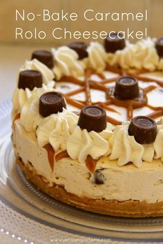 No Bake Caramel Rolo Cheesecake - Caramel creamy cheesecake filling on top of a delicious buttery biscuit base drizzled with an extra bit of caramel and packed full of Rolo's – A delicious dessert perfect for every occasion!