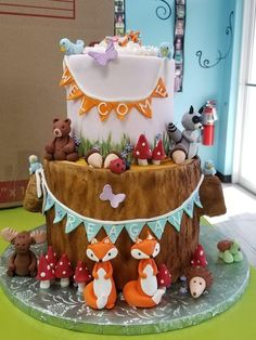 Fondant Woodland Cake Toppers Woodland Animals Baby Shower Party Fox Owl Moose  Squirrel Baby Reveal