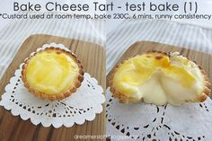 *** As of 3 May have baked 2 more batches of tarts with variations to the recipe. Bake Cheese Tart, Cheese Tarts, Tart Recipes, Dessert Recipes, Asian Recipes, Hokkaido Baked Cheese Tart, Cheese Tasting, Custard Cake, Egg Tart
