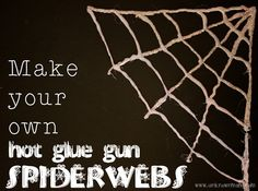 Create your very own hot glue gun spiderwebs to add some fun to your indoor Halloween decor.