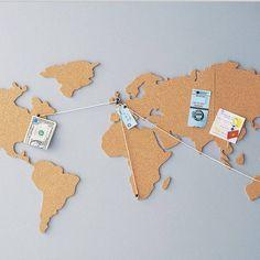 Travel maps, cork world map, world maps, cork map, corkboard ma Cork Board Map, Cork Map, Cork Boards, Decoration Originale, Ideias Diy, Travel Maps, Travel Gifts, Travel Souvenirs, Decorating Your Home