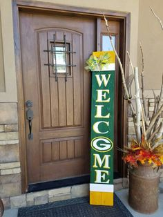 "Green Bay Packers Inspired Front Porch ""Leaner"" Welcome Sign- NFL - Go Pack Go by SarahBerryDesigns on Etsy https://www.etsy.com/listing/469847000/green-bay-packers-inspired-front-porch"