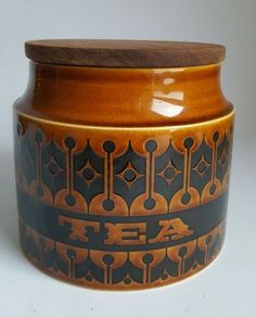 Vintage Hornsea Heirloom Brown Tea Jar Designed by John Clappison