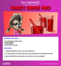 She may only be a werewolf pup but Winnie knows how to keep any party fresh with her recipe for blood red vampire punch and licorice stick for a straw! | Hotel Transylvania 2