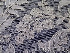 """Near 6 yards Glorious Antique French Alencon Lace 212"""" x 5 3/4"""" Ferns Flowers"""