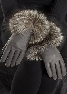 Leather Glove with Fox Cuff Fur Clothing, Mitten Gloves, Fox Fur, Leather, Shopping, Clothes, Collection, Fashion, Outfits
