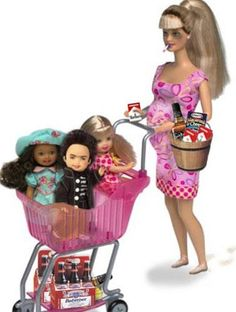 Wal Mart Barbie / Ok  this is just sad. For crying out loud it's a doll baby. Pregnant,black eye & smoking a cig. If it's my eyes. Please forgive me. N o yes i forgot a shopping full of babies. This photo is saying just a little much.O my goodness is that beer