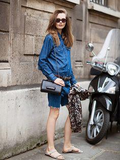 Pair a dark denim button-up shirt with dark bermuda-style shorts. // #StyleTip