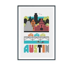 Make a cross stitch version of Austin, Texas with the Congress Avenue Bridge, State Capitol building, Colorado River, Ladybird Lake, Wells Fargo