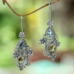Balinese Cultured Pearl and Blue Topaz Citrine Earrings - Plumeria Dew by Buana