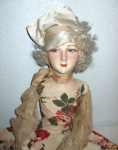Antique Fabulous & SO Art Deco French Tagged Gerb's Boudoir Doll #Gerbs