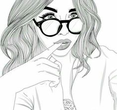 black and white, cool, drawings, girl, girls - image by . Cool Girl Drawings, Tumblr Girl Drawing, Tumblr Drawings, Tumblr Art, Tumblr Girls, Easy Drawings, Tumblr Outline, Outline Art, Outline Drawings