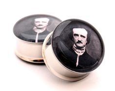 Edgar Allan Poe Picture Plugs gauges - 00g, 1/2, 9/16, 5/8, 3/4, 7/8, 1 inch. $19.99, via Etsy.