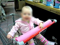 BABY PROOF SHOPPING CART - 50 Clever Uses For Pool Noodles - Babies will often try to eat their shopping cars. Odr at least put their mouths on it. You can make this less gross by placing a pool noodle over the shopping car bar.