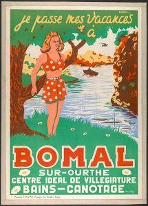 Je passe mes vacances à Bomal-sur-Ourthe centre ideal de villegiature Bains-Canotage (Tourism & traffic posters Belgium) #Booktower