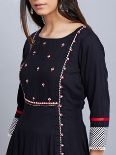 Black Embroidered Viscose Kurta with Red Cotton Pants - Set of 2 Designer Kurtis, Indian Designer Suits, Salwar Designs, Kurta Designs Women, Dress Neck Designs, Designs For Dresses, Blouse Designs, Embroidery On Kurtis, Kurti Embroidery Design