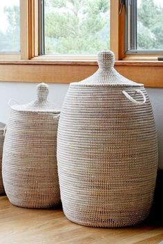 Wolof women in Senegal weave these modern baskets which offer beauty and functionality. The hampers feature a tight coil stitch and excellent quality. Woven Laundry Basket, Laundry Hamper, Modern Baskets, Home Living, Living Spaces, Living Room, Deco Design, Storage Baskets, Home Crafts