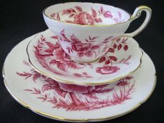 E Brain - Foley - Peony tea trio | Everything stops for tea Collectable retro antique & Vintage teaware tea & coffee sets trios cups saucers plates 18th to 20th century