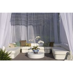 Angie Thornbury Instant Cabana Suite - Zen ($8,600) ❤ liked on Polyvore featuring home, outdoors, patio furniture, backgrounds, oval side table, outside side table, outdoor pool furniture, outdoor day bed and oval end table